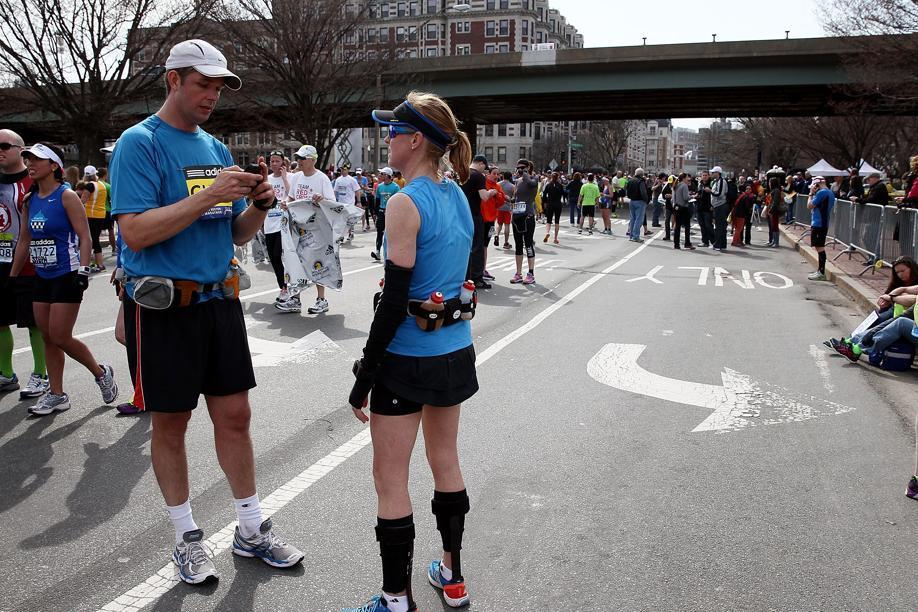 Following the Marathon bombngs, runners and spectators people used cell phones to both get in touch with loved ones and gather information.